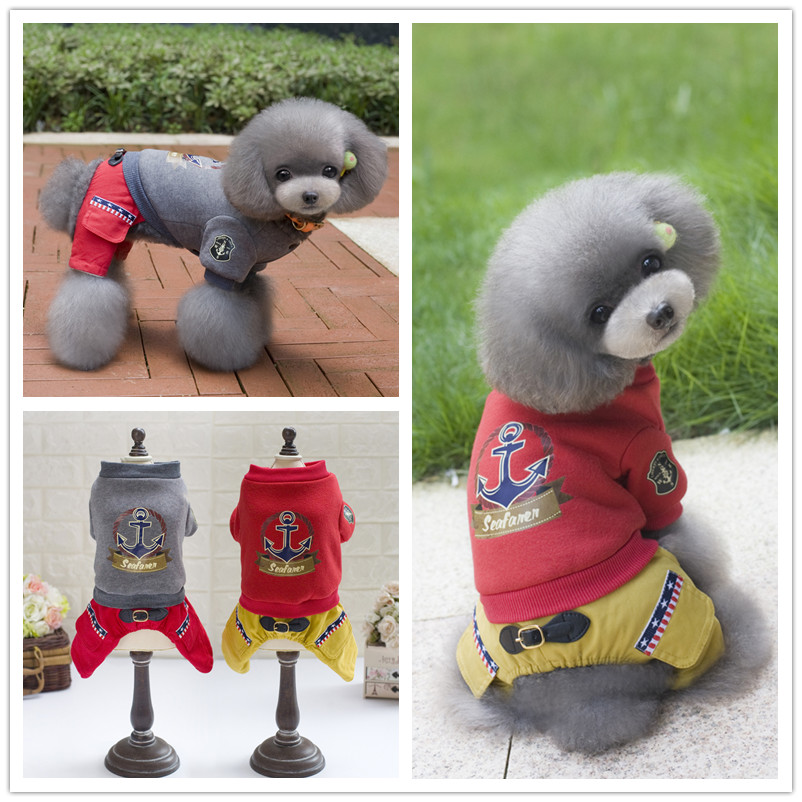 FY118 Free shipping Pet dog cotton clothes Vintage nautical Winter 4 legs clothes for Puppy dog Jumpsuit Coverall Cos