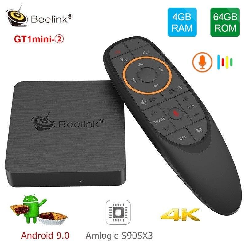 Beelink GT1mini-2 Smart TV Box Amlogic Android 9.0 S905X3 4GB DDR4 64GB ROM voix à distance 2.4G + 5.8G WiFi 1000Mbps USB BT VP9