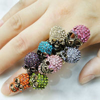 BELLA Fashion 8 Colorful Skull Bone Skeleton Adjustable Ring Austrian Crystal Ring For Women Halloween Party