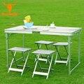 Acampar al aire libre 120x70x69 CM de aluminio de alta calidad de split-sillas elevadoras de Cinco piezas Portable Mesa Mesa plegable Muebles Al Aire Libre de Picnic