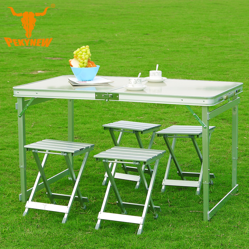 Outdoor camping 120x70x69CM High-end aluminum split-lift chairs Five-piece Portable Folding Table Desk Furniture Outdoor Picnic thick piece aluminum folding tables and chairs portable folding table desk furniture outdoor picnic