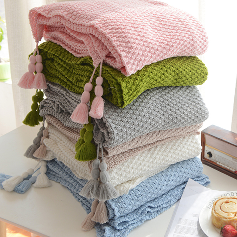 New arrival 100% cotton handmade high quality soft sofa bed knitted throw blanket 130*170cm green, pink, blue,beige, white