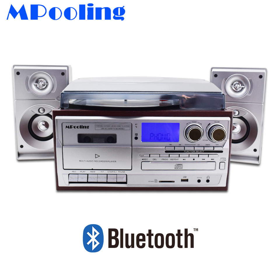 MPooling USB Turntable LP Vinyl Record Player Cassette Recorder CD Player 4.1 Bluetooth AM/FM Radio Aux-in RCA Line-out