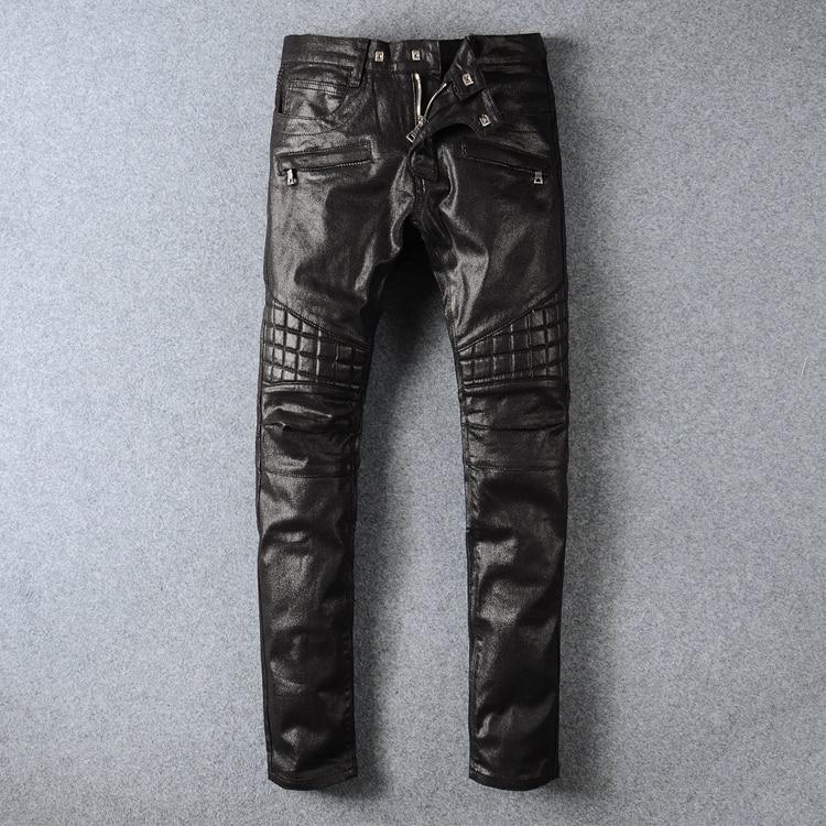 Плюс размер оптовая черные кожаные брюки моды мужские длинные брюки тонкий длинный revits брюки певцы брюки мужские брюки