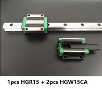 1pcs linear guide rail HGR15 1100mm/1200mm/1300mm/1400mm/1500mm +2pcs HGW15CA/HGW15CC linear carriage blocks Made in China