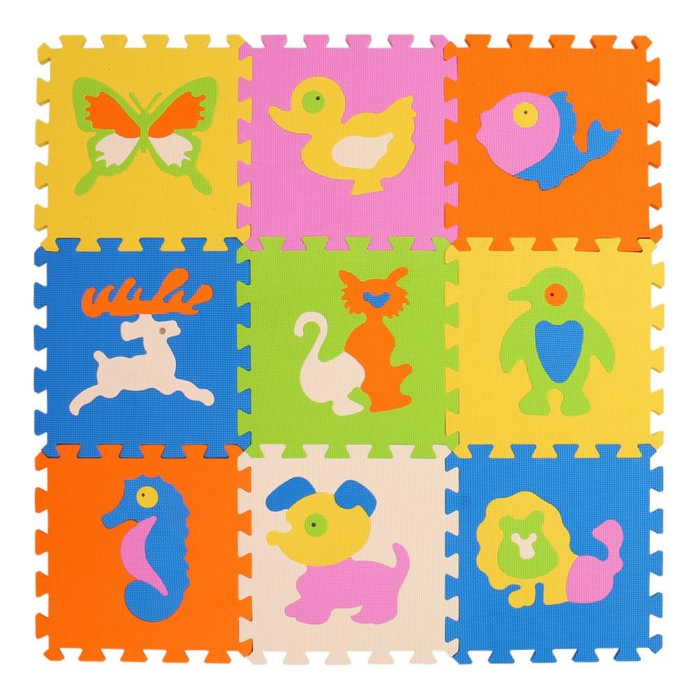 MQIAOHAM EVA New 9pcs 11.8*11.8 Puzzle Floor GYM Soft Kids Foam Mat baby play puzzle Star cartoon foam Kids Gaming Mat