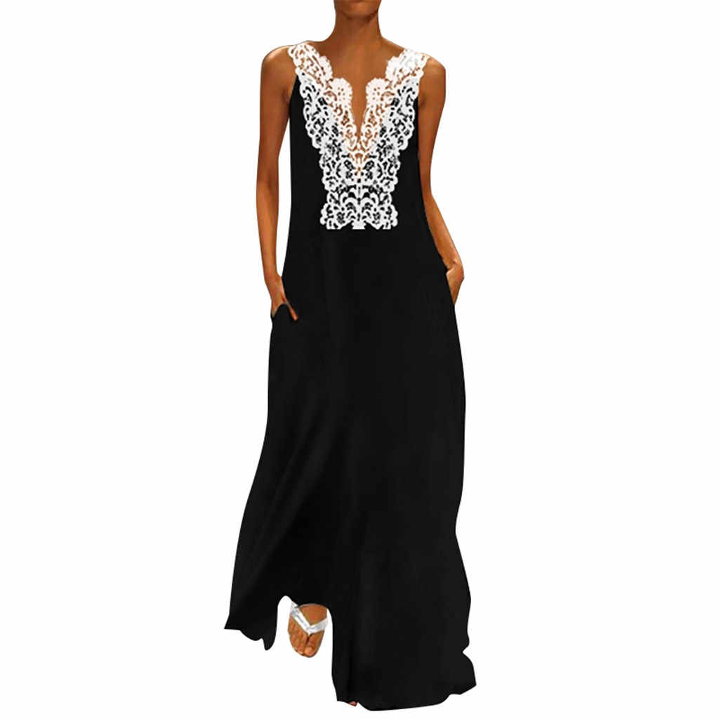 Women Vintage Long Dress Boho Daily Ladies Casual V Neck Splicing Sleeveless Lace Hollow Summer Maxi Beach Dress vestidos 2019#5