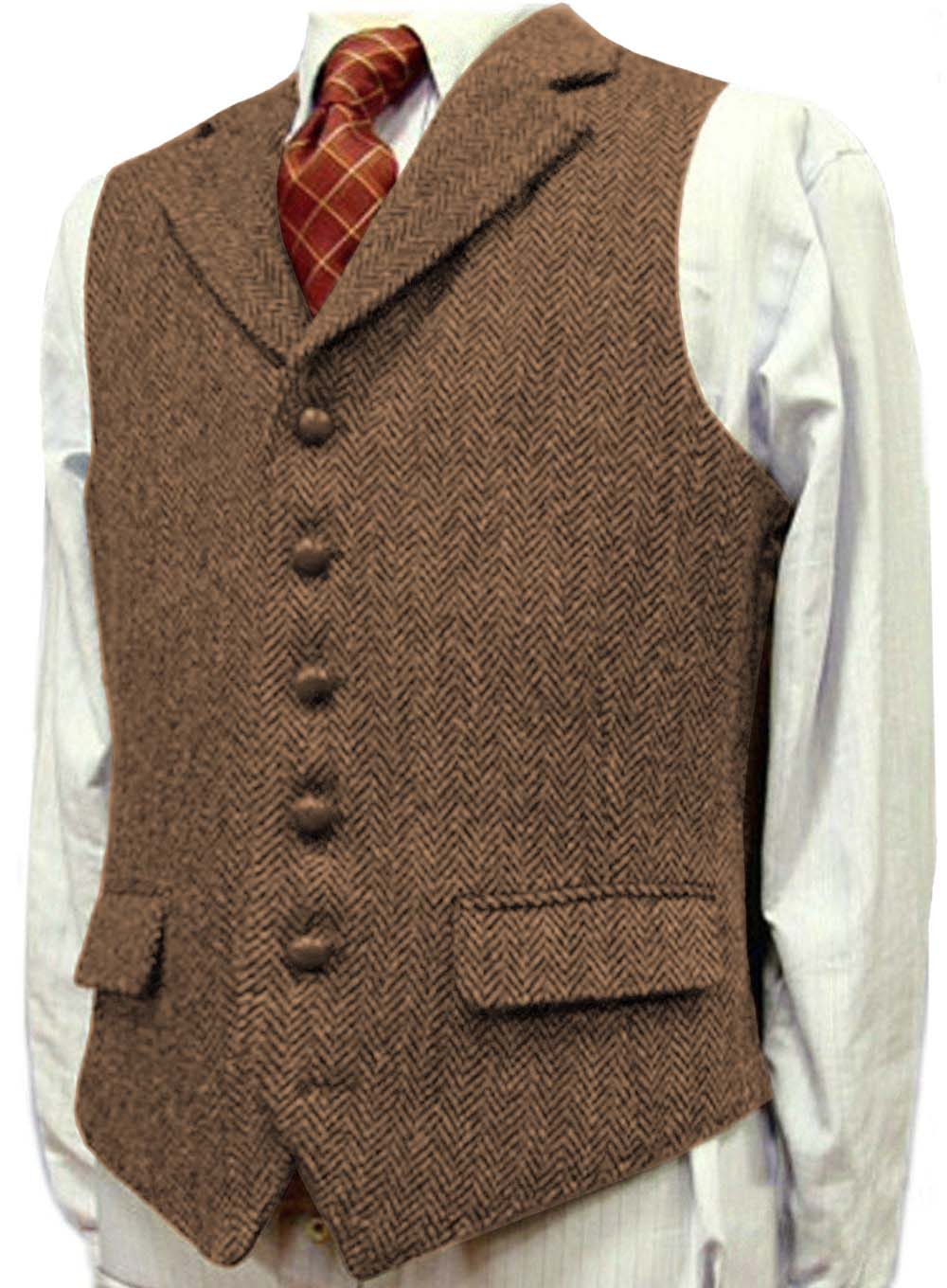 Mens Suit Vest Lapel V Neck Wool Herringbone Waistcoat Casual Formal Business Groomman For Wedding Green/Black/Brown/Green/Grey