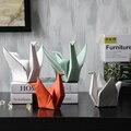 Абстрактная Геометрия оригами рядом с вами статуя Aanimal фигурка Керамическая скульптура для украшения дома подарки L2864