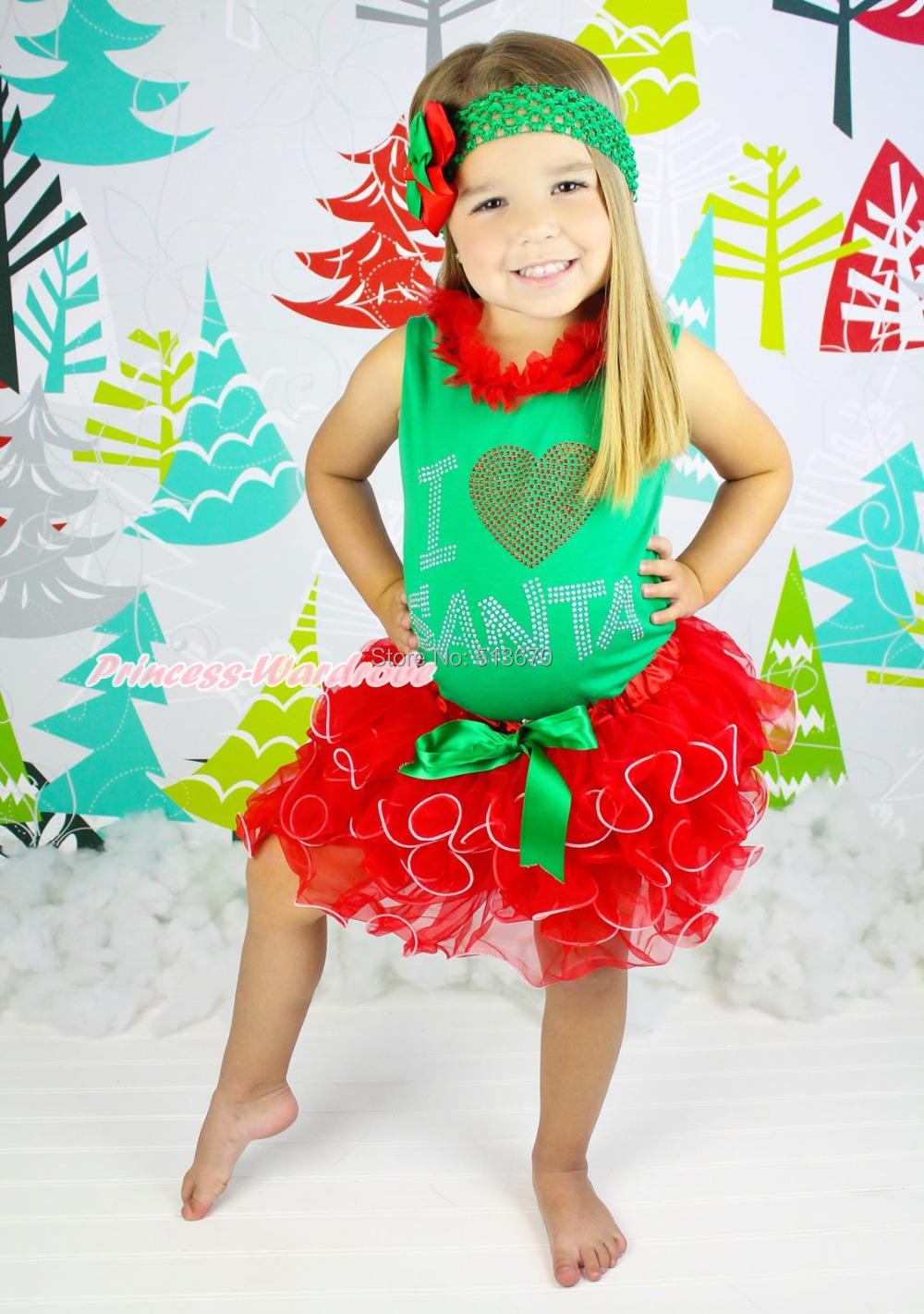 XMAS Rhinestone I LOVE SANTA Kelly Green Top Red petal Skirt Baby Girl Set NB-8Y MAPSA0084 my 1st christmas santa claus white top minnie dot petal skirt girls outfit nb 8y