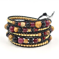 Best Gift Unisex Facted Stone Beads Leather Wraps Bracelet