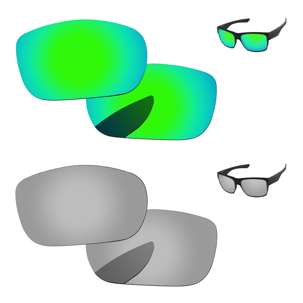 461f8a3b5c Chrome Silver   Emerald Green 2 Pairs Mirror Polarized Replacement Lenses  For TwoFace Sunglasses Frame 100