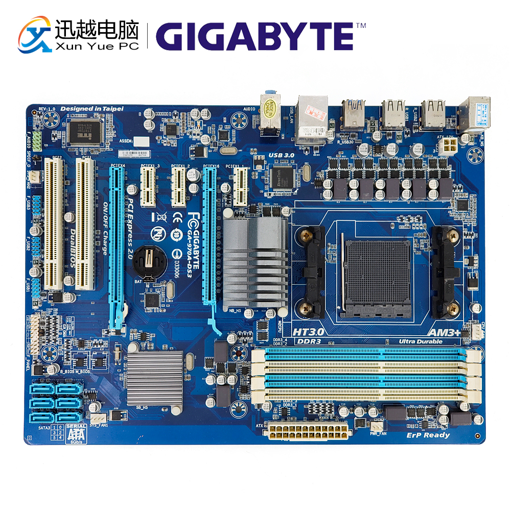 Gigabyte GA-<font><b>970A</b></font>-DS3 Desktop Motherboard <font><b>970A</b></font>-DS3 AMD 970 Socket AM3+ FX Phenom II Athlon II DDR3 32G SATA3 USB3.0 ATX image