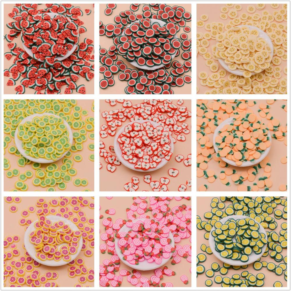 20g Soft Polymer Clay Fruit Slice Fimo Sprinkle For Slime Shaker Card Slime Filling Fake Cake Dessert Food Particles