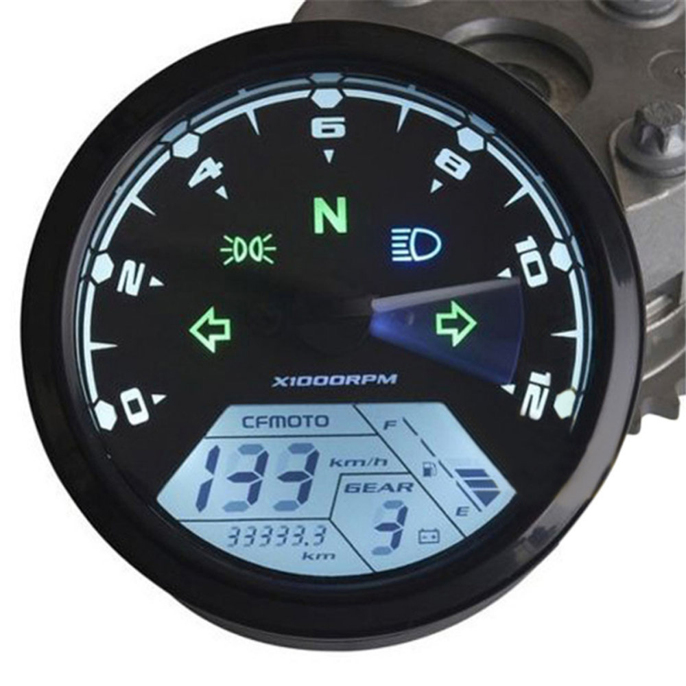 Epapa Automobiles  Motorcycles Store 12000RMP LCD Digital Speedometer Odometer Motorcycle Kilometer and Miles Switch 1-4 Cylinders