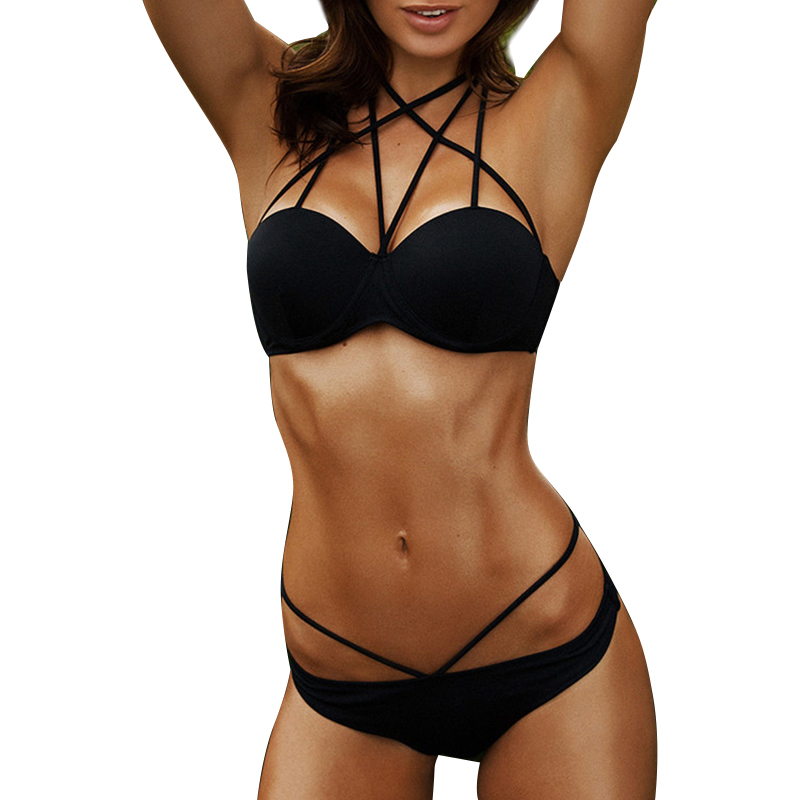 New Women Push Up Sexy Bikini Set Halter Underwire Top Swimsuit Girl Low Waist Ties Swimwear String Bating Suit Biquini S6011 sexy halter push up color block underwire bikini set for women