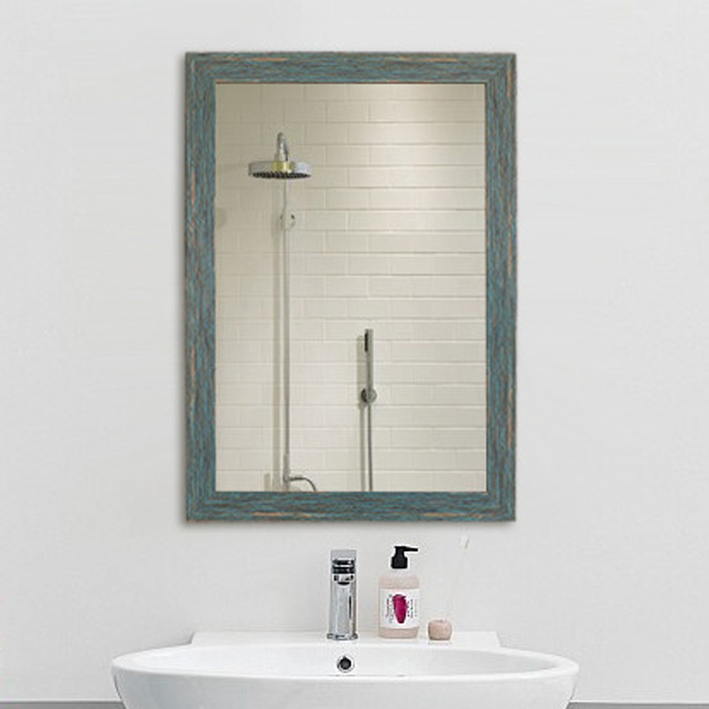 How To Hang A Bathroom Mirror On The Wall: Wall Mirror For Bathroom Blue Retro Bath Mirror Wall