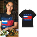 Women Hot Summer Trendy T-shirt Tee Russian Flag Printed Tees Crew Neck Short Sleeve Baggy Loose New Oversized 2017 Solid Color