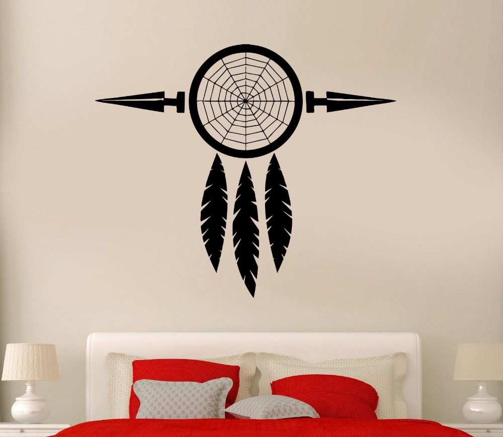 Special talisman dreamcatcher wall sticker art design vinyl native special talisman dreamcatcher wall sticker art design vinyl native american dream catcher wall mural y 800 in underwear from mother kids on aliexpress amipublicfo Choice Image