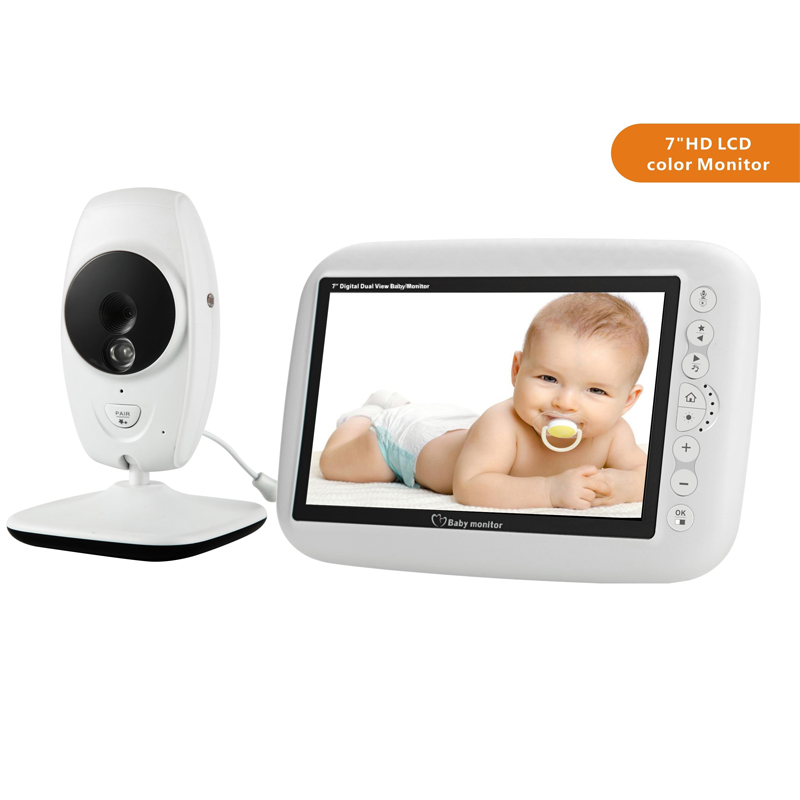 Image 1 - MBOSS 7.0inch Baby Monitor 720P HD Wireless Color Baby Monitor With Night Vision Camera Lullabies Support Split Screen-in Baby Monitors from Security & Protection