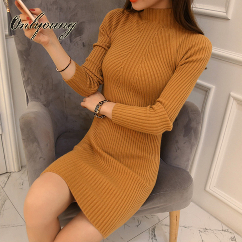 Onlyoung 2017 Autumn Winter Bodycon Knitted Dress Short Pencil Dress Tricot Long Sleeve Black Half Turtleneck Sweater Dress