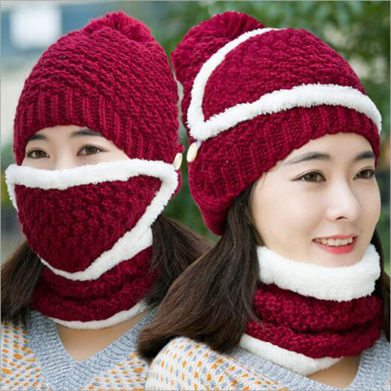 [Gsycl] Winter Knitting Warm Face Cap Protection Ear Hat for Women Windproof Collar Three Sets Colors Red Pink Navy Gray Black skullies hot sale candy sets color pointed hat knitting hat sets hat cap 1866951