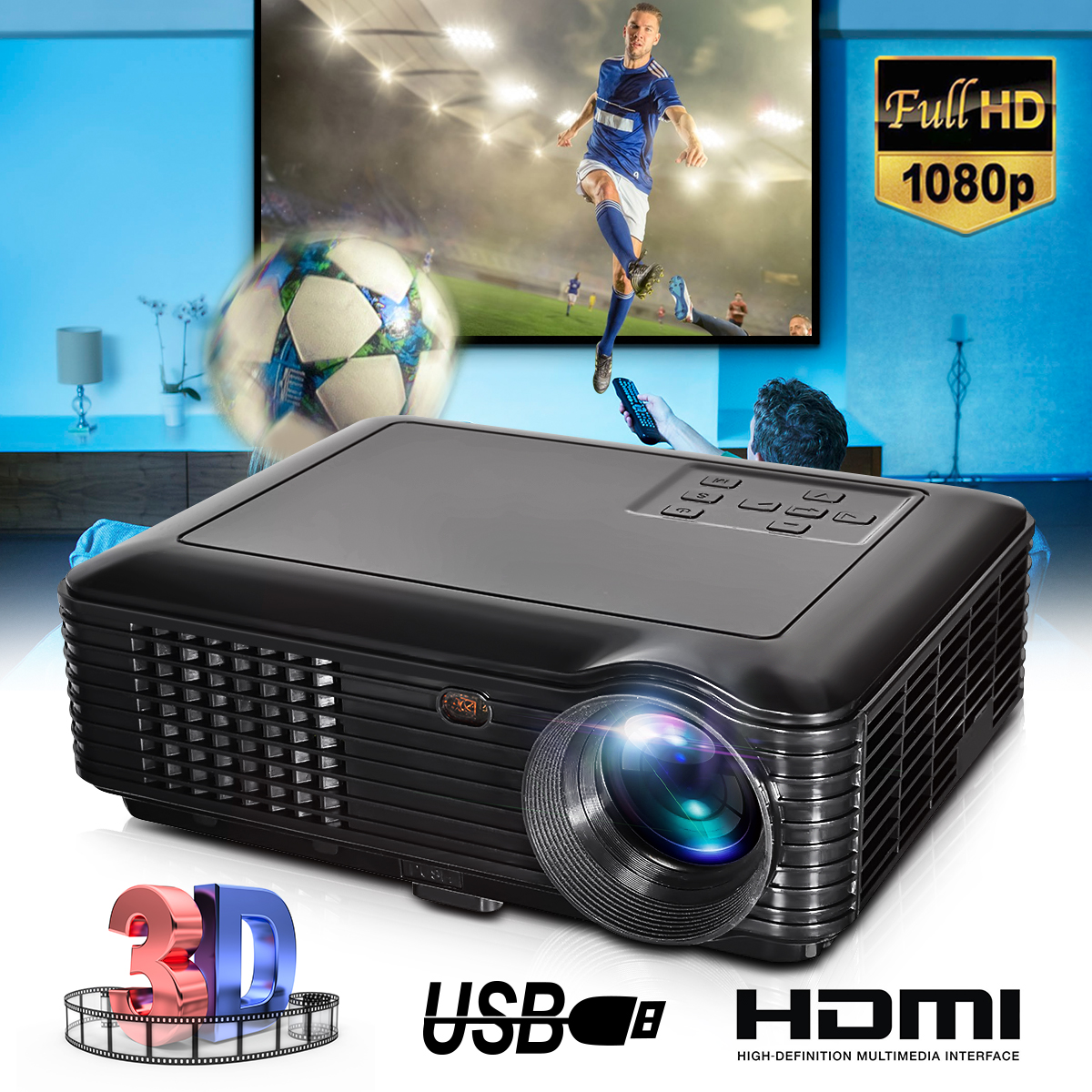 White 3500Lm LED Portable Projector 800x480 Resolution Home Theater Support 1080P USB VGA SD AVWhite 3500Lm LED Portable Projector 800x480 Resolution Home Theater Support 1080P USB VGA SD AV