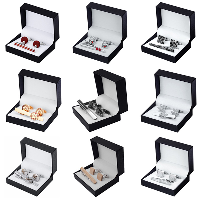 12 Styles High Quality Tie Clip Cufflinks Gift Set To Choose Men Tie Shirt Cufflinks Tie Clip Wedding Jewelry Box Free Shipping