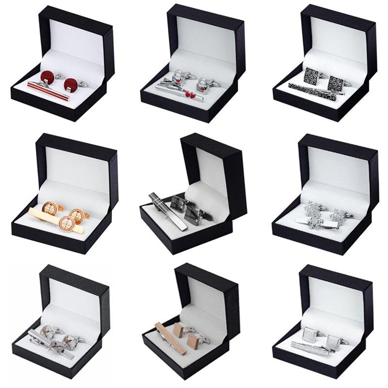 12 estilos de alta calidad gemelos de Clip para corbata regalo para elegir a los hombres corbata camisa gemelos Clip de corbata caja de joyería de la boda envío gratis