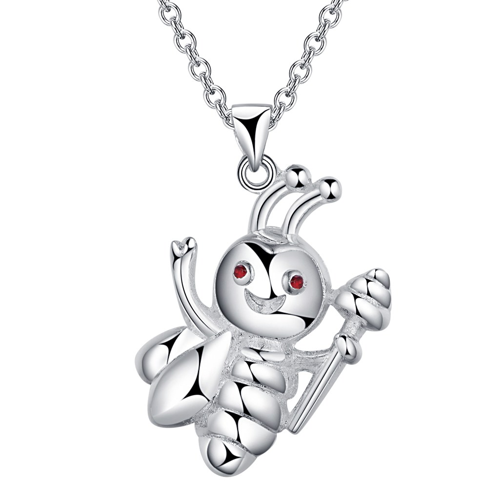 Cute bee silver pendant necklace necklace with zircon for Cute jewelry for girlfriend