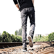 Fashion Skinny Jeans Teenager Young Men Slim Pants Trousers Pockets Pencil Pants