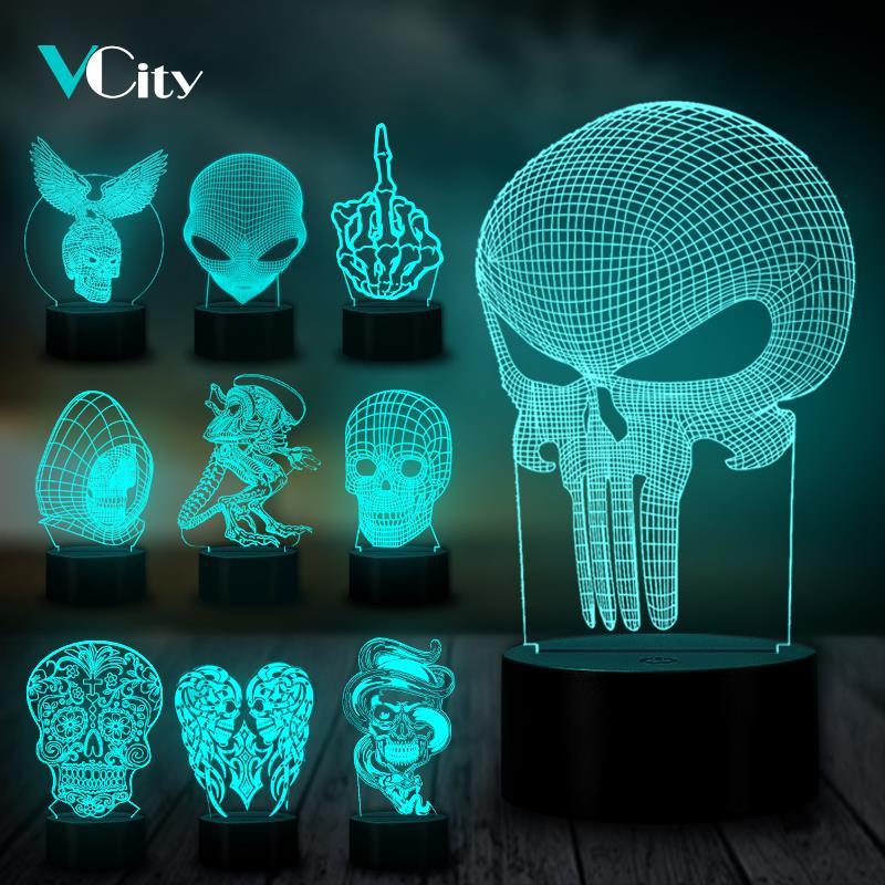 VCity Halloween Decor Eagle Skull Alien 3D Night Light Led Table Lamp Bulb LED USB RGB