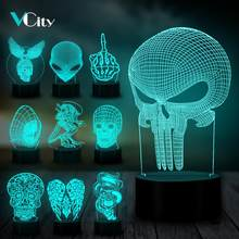 VCity ฮาโลวีน Decor Eagle Skull Alien 3D Night Light Led หลอดไฟ LED USB RGB Mood Multicolor Luminaria (China)