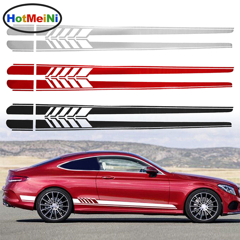 HotMeiNi 2x 205cm*9.4cm Car Side Stickers Body Decals Long Stripes Sticker For Mercedes Benz C Racing Accessories Black/Silver стоимость