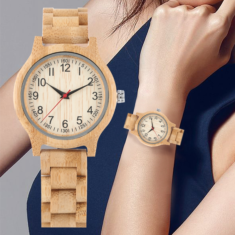 Image 4 - Women Wood Watch Natural All Bamboo Wood Clock Watches Top Brand Luxury Quartz Ladies Dress Watch Wooden Bangle as Best GiftsWomens Watches   -