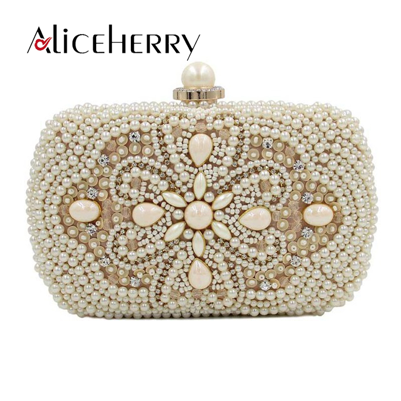 Aliceherry Luxury Evening Bags Women Clutch Bags Party Purse Bags Wedding Bridal Handbag Pearl Beaded Gril Ladies Hand Bags цена