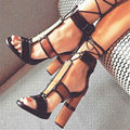 2017 Fashion Patchwork Women Chunky High Heels Gladiator Sandals Ankle Wrap Tie Up Women Pumps Prom Sandalias Mujer Shoes Woman