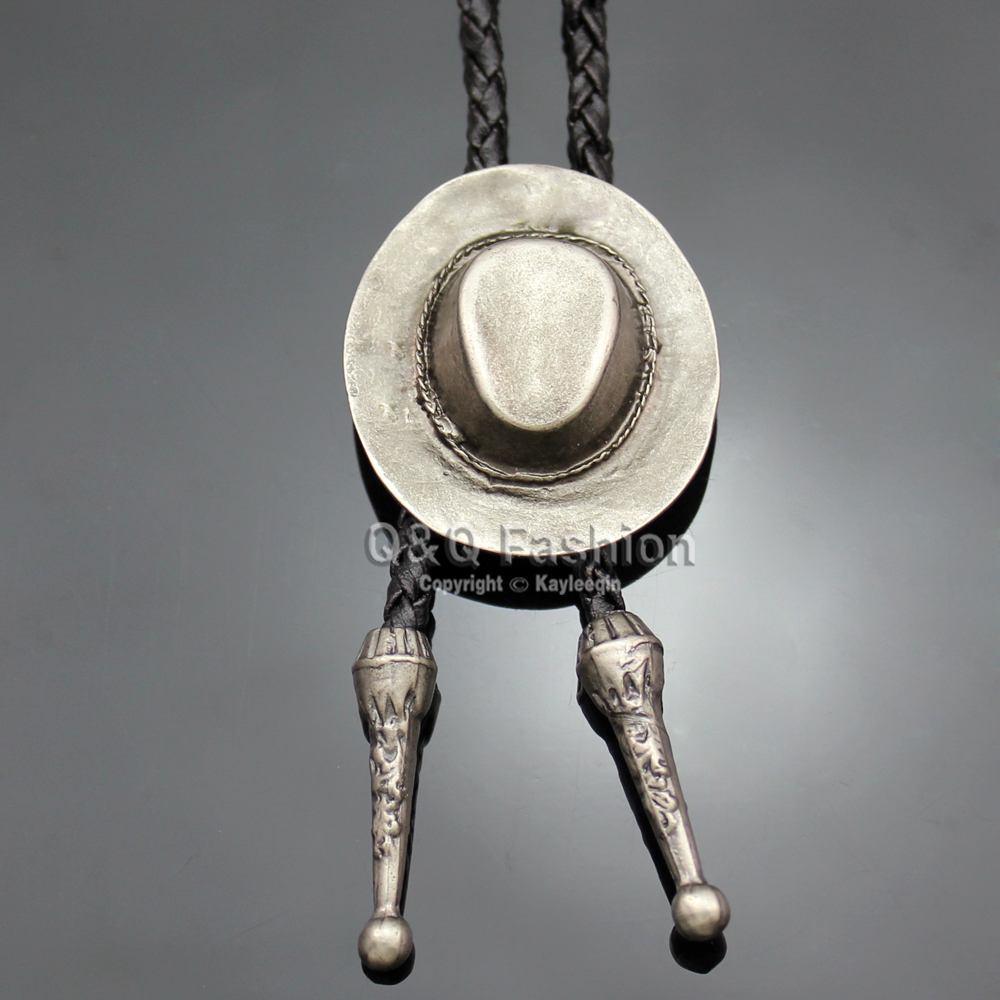Cowboy Hat Stetson Black Leather Rodeo Western Bolo Bola Tie Necktie Line Dance Jewelry 2018 New Necklace