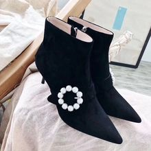 Luxury Pearl Suede Leather Woman Ankle Boots Buckle Stiletto High Heels Pumps Street Style Party Dress Shoes zapatos de mujer 40