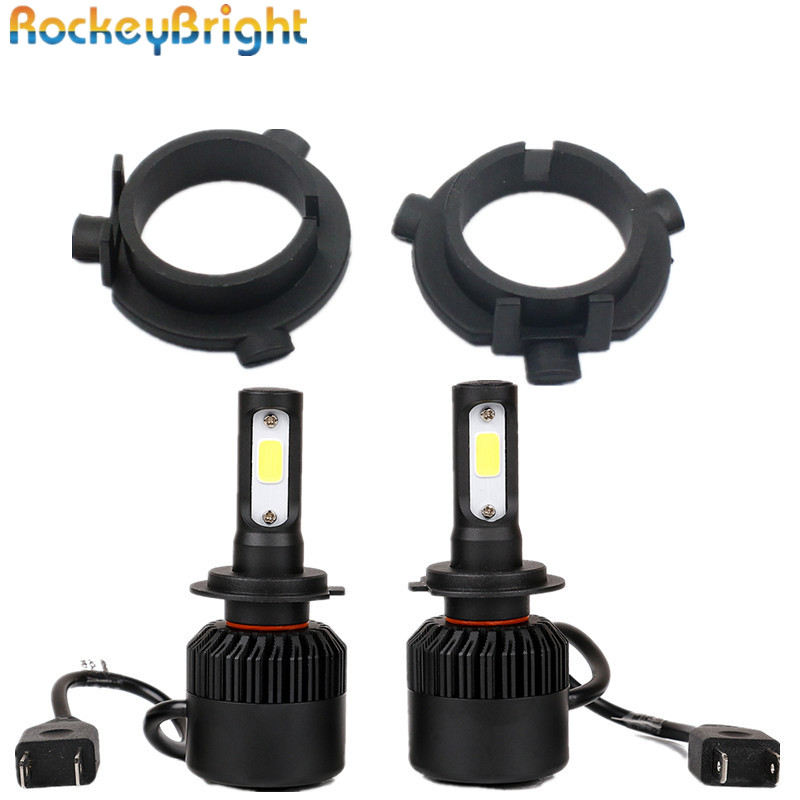 где купить Rockeybright H7 LED Conversion Kits All in One Car headlight fog light Lamp kit with 2pcs Adapter for Kia K3 sportage for K4 K5 по лучшей цене