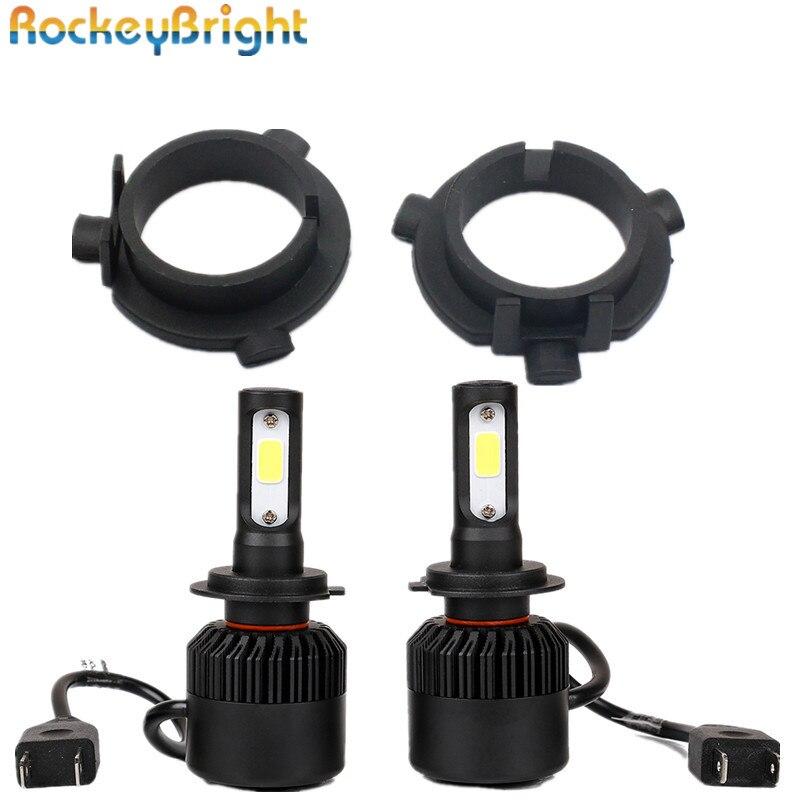 Rockeybright H7 LED Conversion Kits All in One Car headlight fog light Lamp kit with 2pcs Adapter for Kia K3 sportage for K4 K5 fsylx led h7 bulb holder adapter for hyundai veloster i30 h7 led headlight headlamp h7 base adapter for kia k4 k5 sorento ceed