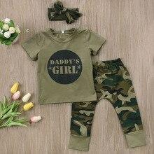 Супер крутая летняя и весенняя одежда для младенцев комплекты одежды для малышей камуфляжная футболка для маленьких мальчиков и девочек топы+ длинные штаны повязка на голову