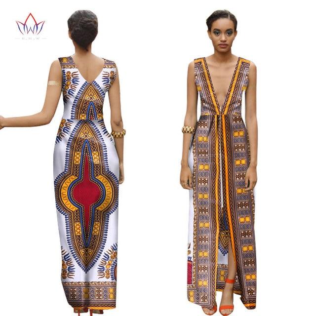 7cad947ea150 African Print Dresses Women Deep V Sleeveless Long Dress Dashiki African  Print Clothing Plus Size Women Clothing 6XL BRW WY1537