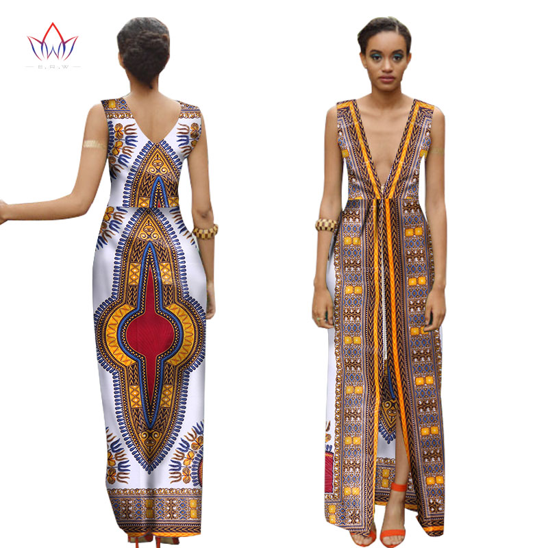 African Print <font><b>Dresses</b></font> Women Deep V Sleeveless Long <font><b>Dress</b></font> Dashiki African Print Clothing Plus Size Women Clothing <font><b>6XL</b></font> BRW WY1537 image