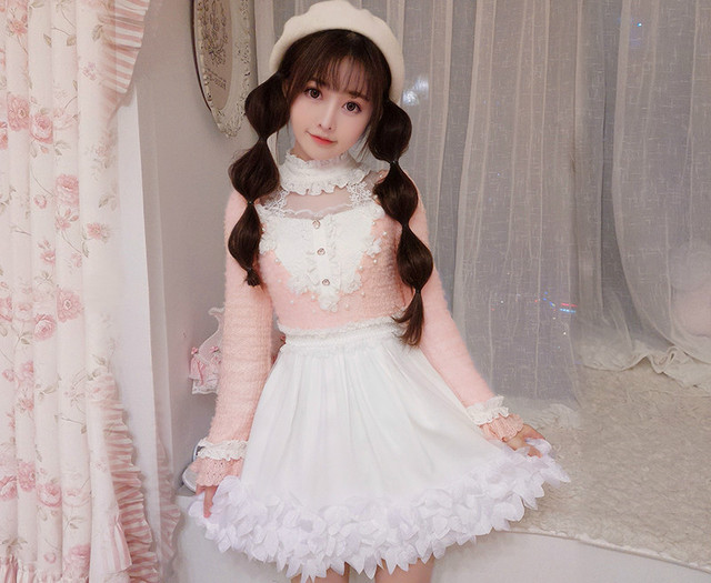 7fec4461e6f8 Princess sweet lolita dress Candy rain original winter women's clothing Chiffon  chiffon dress long sleeve collar C22CD7240