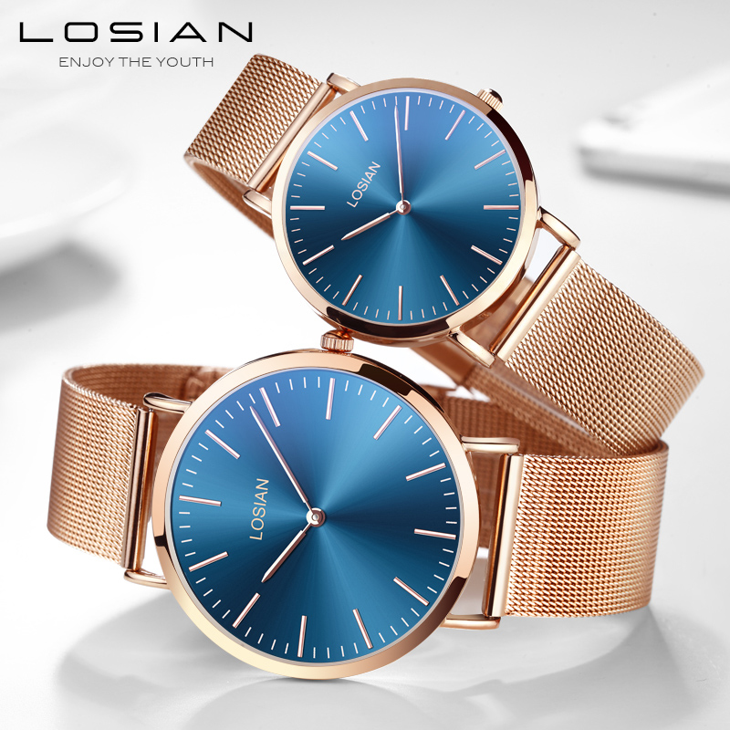 Watches Top Brand Luxury Rose Gold Quartz Watch Couple Business Clock Fashion Leather Waterproof Sport Watch Lovers Gift Box disu top brand 2017 men watches fashion simple quartz wrist watch business leather strap male sport rose gold dial clock ds039