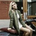 YNZZU Зима парки Army Green Долго Стиль бомбардировщик куртка Женщин пальто прохладно основные Хлопок куртка молнии куртки байкер пиджаки YO099