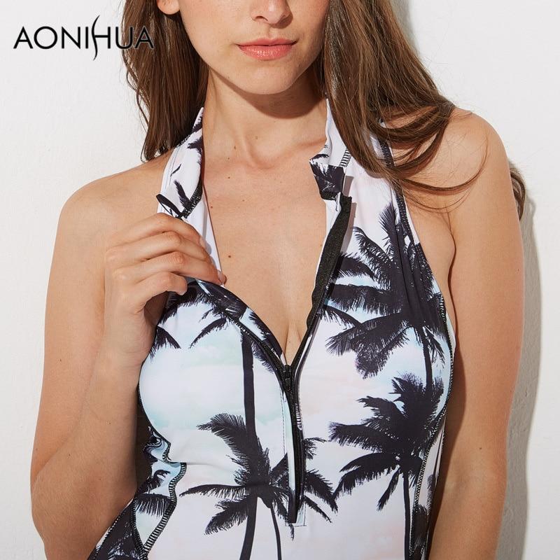 AONIHUA Palm Print Басып шығару One Piece Swimsuit - Спорттық киім мен керек-жарақтар - фото 3