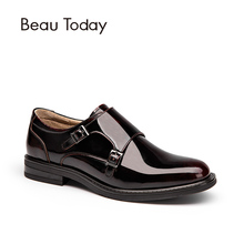 BeauToday Brand Patent Leather Buckle Strap Round Toe Dress Oxford