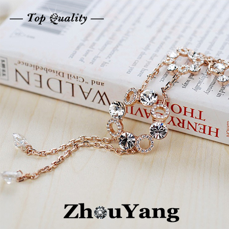 ZHOUYANG ZYM023 Noble Transparent Sweater Coat Chain  Rose Gold Plated Pendant Necklace Austrian Crystal  Wholesale